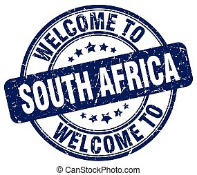 welcome to South Africa blue round vintage stamp