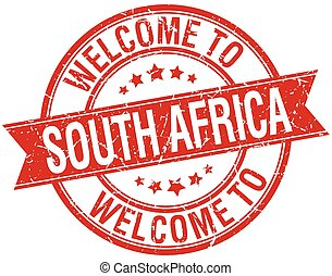 welcome to South Africa red round ribbon stamp