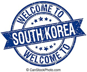 welcome to South Korea blue round ribbon stamp