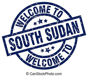 welcome to South Sudan blue stamp