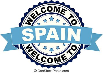 Welcome to Spain blue black rubber stamp
