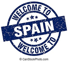 welcome to Spain blue stamp