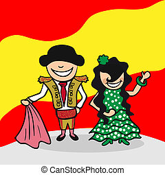 Spanish man and woman cartoon couple with national flag background. Vector illustration layered for easy editing.
