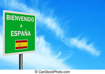 "\""Welcome to Spain\\\"" sign - Photo realistic bright,..."