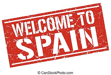welcome to Spain stamp