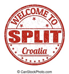 Welcome to Split grunge rubber stamp on white background, vector illustration