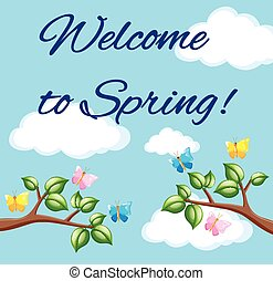 Welcome to Spring poster with blue sky and colorful butterflies