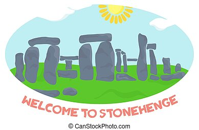 Welcome to stonehenge SIGN - illustration in style of flat...