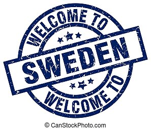welcome to Sweden blue stamp