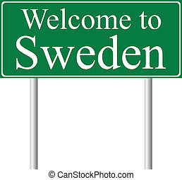 Welcome to Sweden, concept road sign