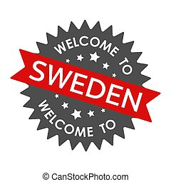 Welcome to  SWEDEN. Round label with red ribbon. Vector illustration