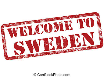 welcome to sweden stamp