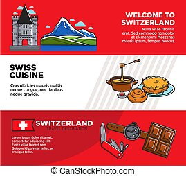 Welcome to Switzerland promotional travel company banners set
