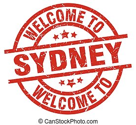 welcome to Sydney red stamp