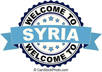 Welcome to Syria blue black rubber stamp