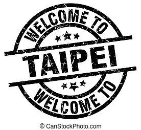 welcome to Taipei black stamp
