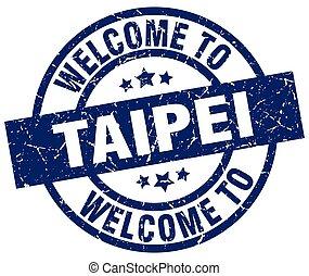 welcome to Taipei blue stamp
