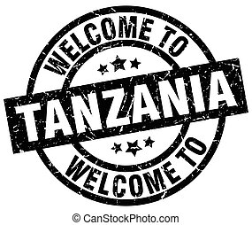 welcome to Tanzania black stamp