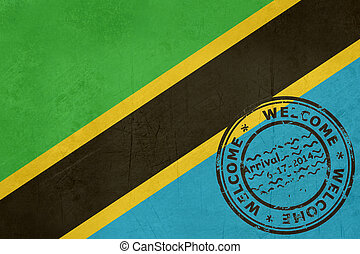 Welcome to Tanzania flag with passport stamp