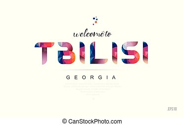 Welcome to tbilisi georgia card and letter design typography icon