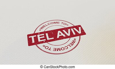 WELCOME TO TEL AVIV wooden stamp animation. Alpha matte for...