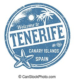 Welcome to Tenerife grunge rubber stamp