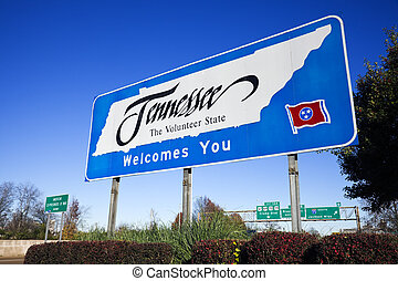 Welcome to Tennessee - road sign on the highway.