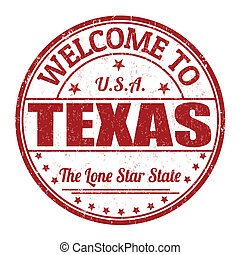 Welcome to Texas grunge rubber stamp on white background, vector illustration