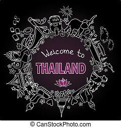 Thailand . Set Thai color vector icons and symbols