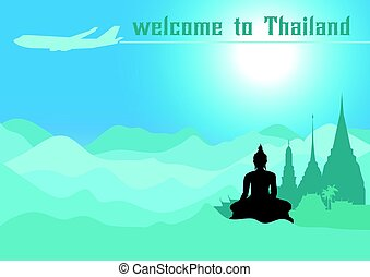 Welcome to Thailand,Travel design with Temple, vector illustration.