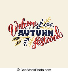 Welcome to the autumn festival red lettering