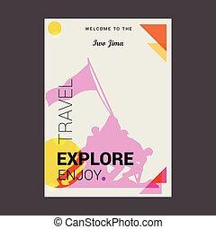 Welcome to The Iwo Jima, USA Explore, Travel Enjoy Poster Template