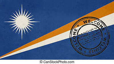 Welcome to the Marshall Islands flag with passport stamp