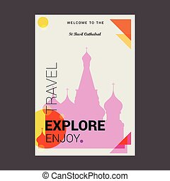Welcome to The St Basil Cathedral Moscow, Russia Explore, Travel Enjoy Poster Template