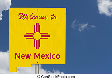 Welcome to the state of New Mexico road sign in the shape of the state map with the flag