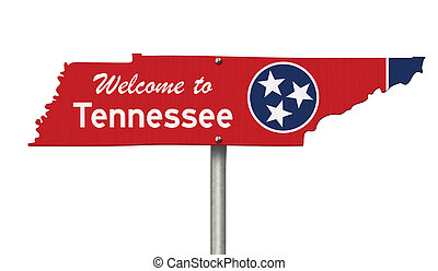 Welcome to the state of Tennessee road sign in the shape of the state map with the flag