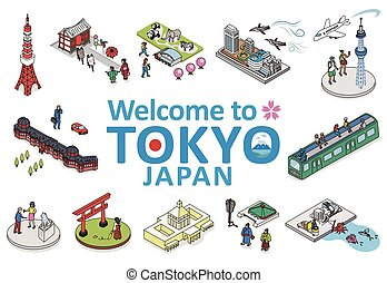 Welcome to TOKYO JAPAN.Isometric vector Illustration of TOKYO CITY JAPAN.
