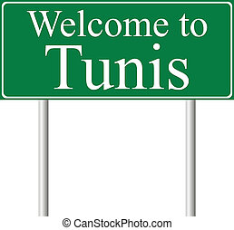 Welcome to Tunis, concept road sign