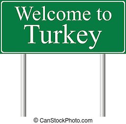 Welcome to Turkey, concept road sign