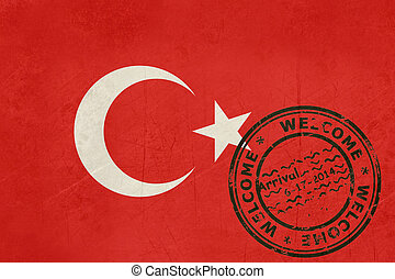 Welcome to Turkey flag with passport stamp