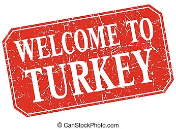 welcome to Turkey red square grunge stamp