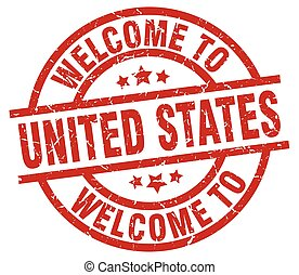 welcome to United States red stamp