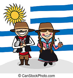 Welcome to Uruguay people - Uruguayan man and woman cartoon...