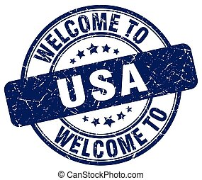 welcome to usa blue round vintage stamp