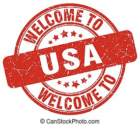 welcome to usa red round vintage stamp