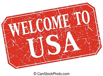 welcome to usa red square grunge stamp