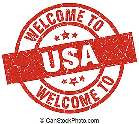 welcome to usa red stamp