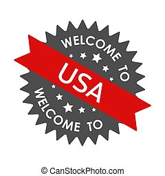 Welcome to USA. Round label with red ribbon. Vector illustration
