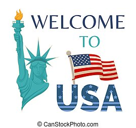 Welcome to USA Statue Flag Vector Illustration