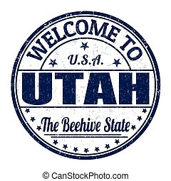 Welcome to Utah stamp